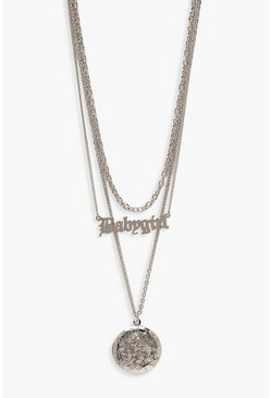 Womens Silver Babygirl Layered Necklace