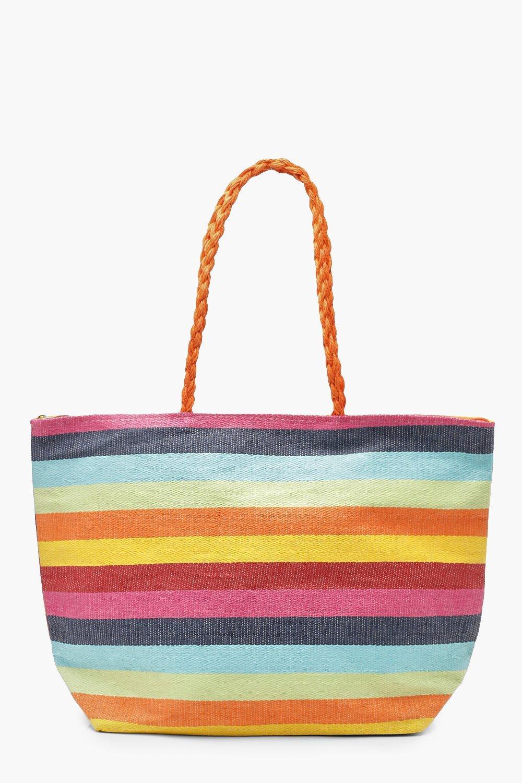 4f95756f072 Womens Multi Rainbow Stripe Beach Bag. Hover to zoom
