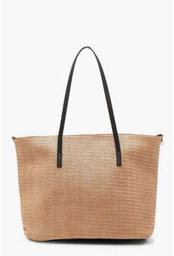 Natural Straw PU Handle Beach Bag