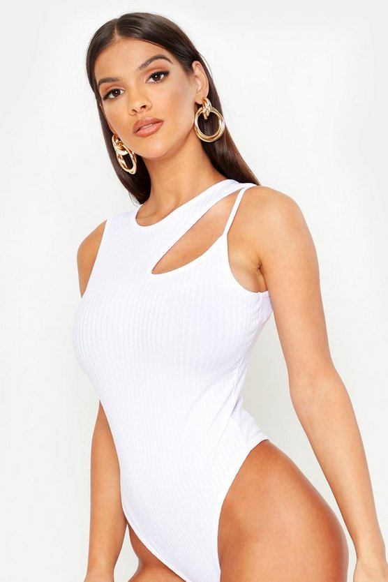 Womens White Jumbo Rib Asymmetric Cut Out Bodysuit