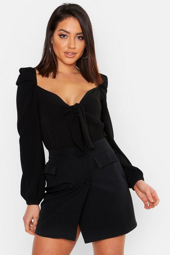 Womens Black Tie Front Peasant Style Woven Bodysuit