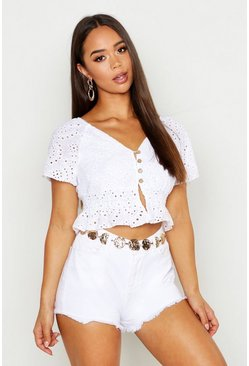 Womens White Broderie Anglaise Button Front Crop