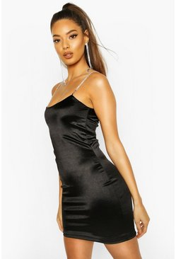 Black Diamante Strap Bodycon Mini Dress