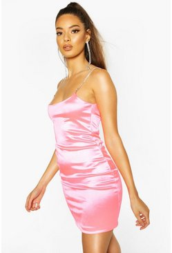 Womens Neon-pink Diamante Strap Bodycon Mini Dress