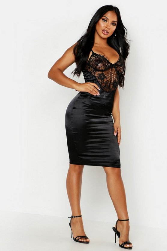 Womens Black Satin Lace Cupped Bodycon Dress