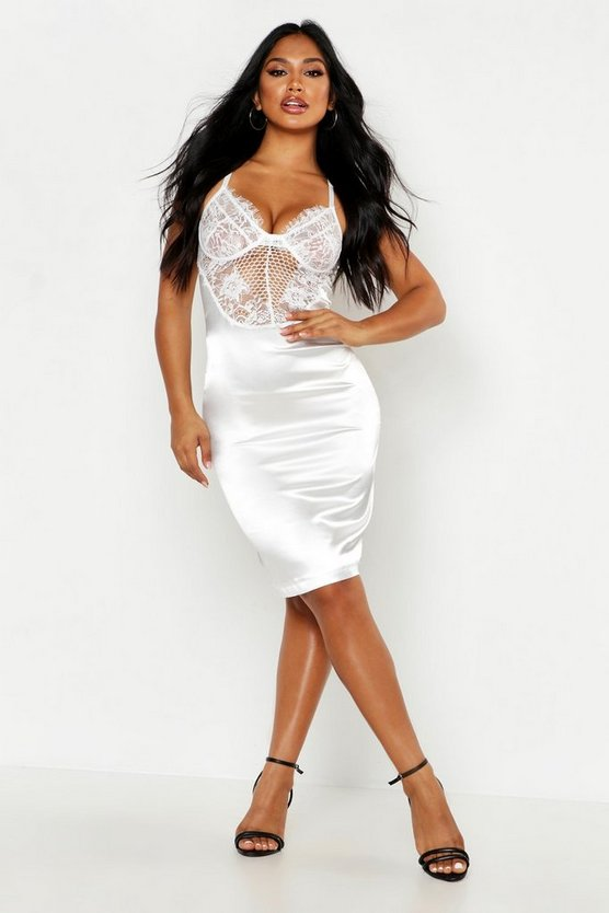 Womens Ivory Satin Lace Cupped Bodycon Dress