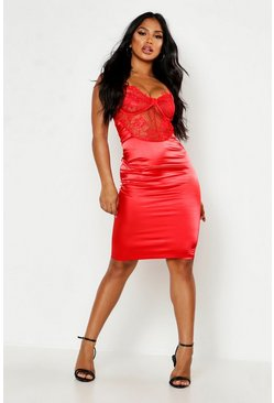 Womens Red Satin Lace Cupped Bodycon Dress
