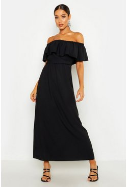 Womens Black Woven Bardot Frill Maxi Dress