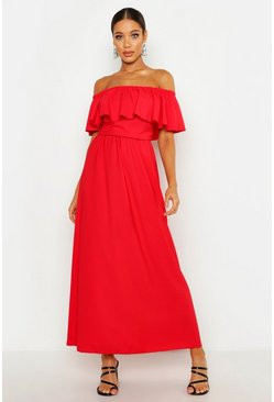 Red Woven Bardot Frill Maxi Dress