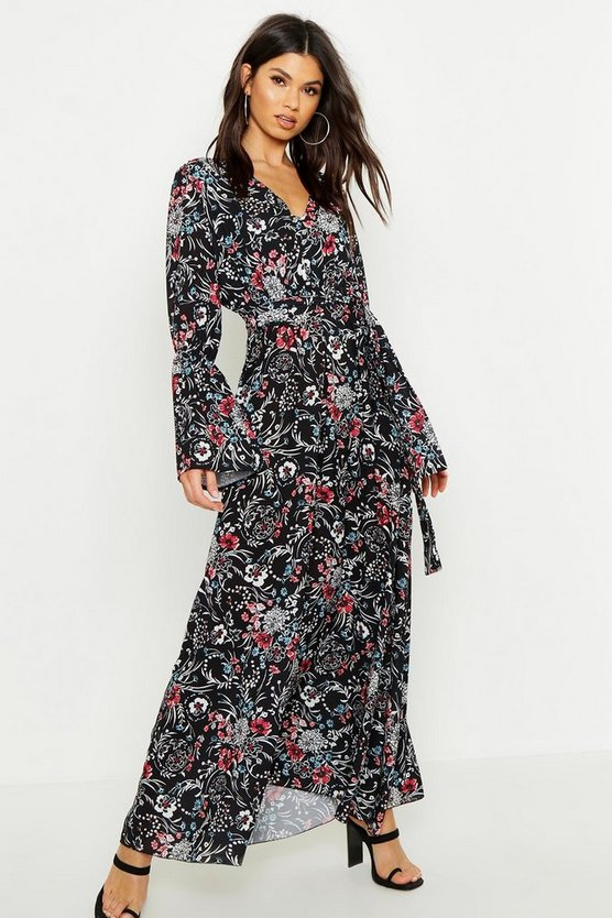 Floral Woven V Neck Flare Sleeve Maxi Dress by Boohoo
