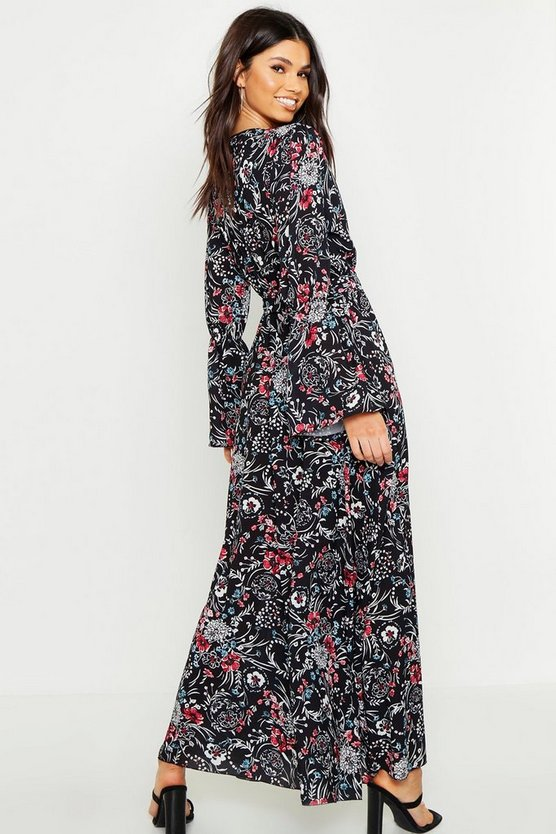 Floral Woven V Neck Flare Sleeve Maxi Dress