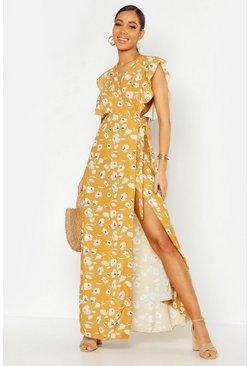 Womens Mustard Floral Woven Ruffle Sleeve Wrap Maxi Dress