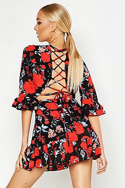 Floral Lace Up Back Detail Frill Trim Skater Dress