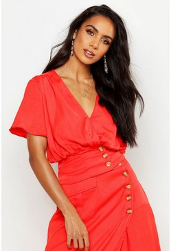 Womens Red Button Detail Flute Sleeve Top
