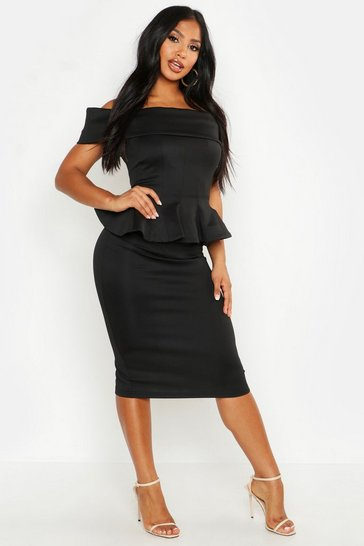 Womens Black Off The Shoulder Peplum Top