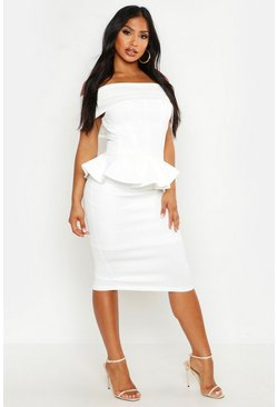 Ivory Off The Shoulder Peplum Top