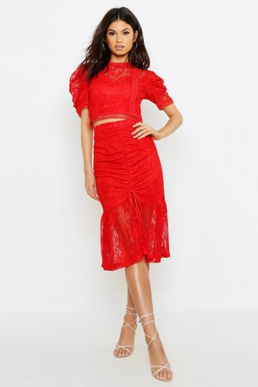 Womens Red Ruched Lace Midi Skirt