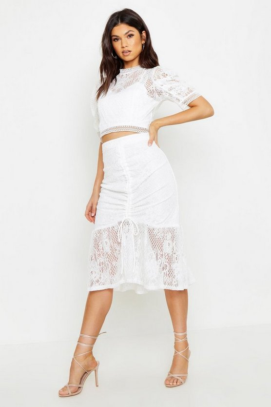 Womens White Ruched Lace Midi Skirt