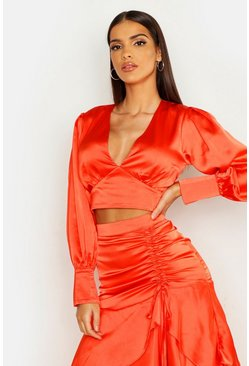 Womens Coral Volume Sleeve Satin Top