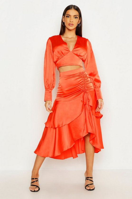 Womens Coral Ruched Double Layer Midi Skirt