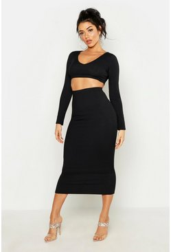 Womens Black Long Sleeve Crop & Midaxi Skirt Rib Co-Ord