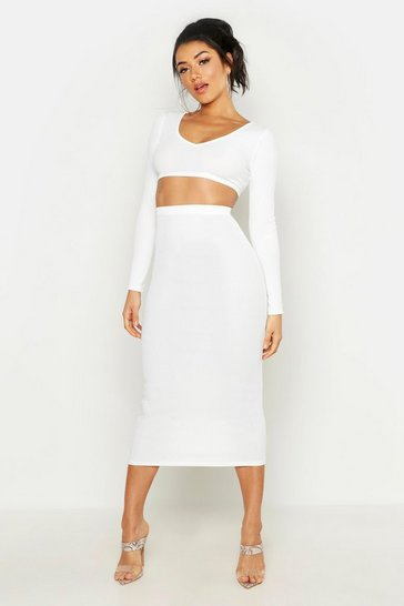 Womens Ivory Long Sleeve Crop & Midaxi Skirt Rib Co-Ord