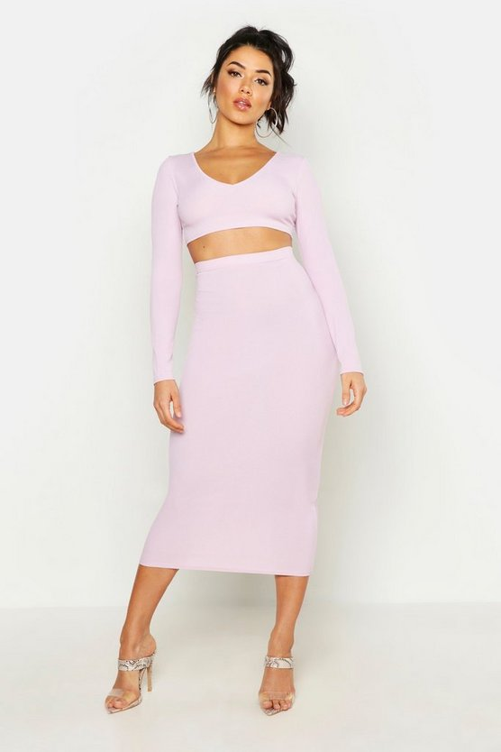 Lilac Long Sleeve Crop & Midaxi Skirt Rib Co-Ord