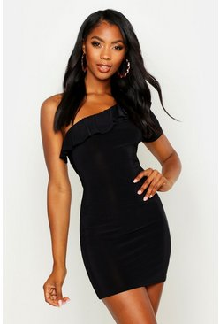 Womens Black Frill Detail One Shoulder Bodycon Mini Dress