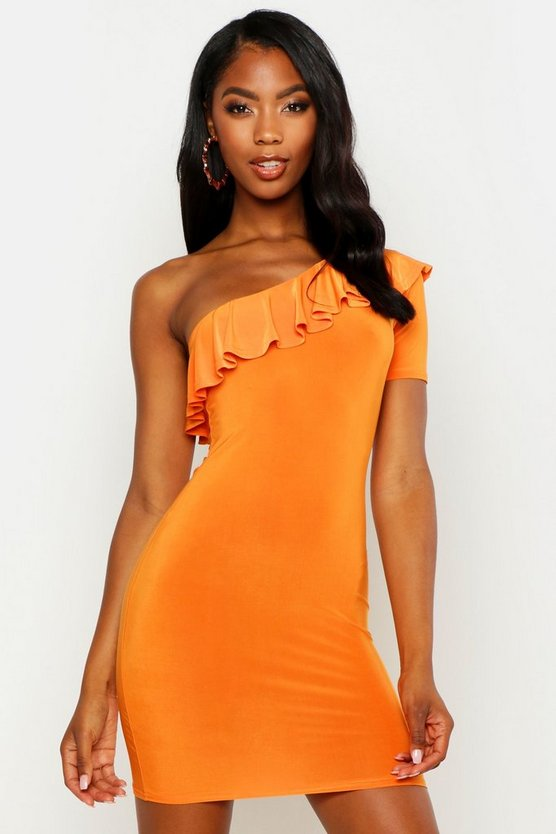 Womens Tangerine Frill Detail One Shoulder Bodycon Mini Dress