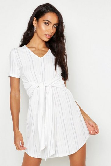 Womens Stripe Tie Waist Curve Hem Shift Dress