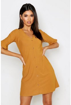 Womens Mustard Button Detail Frill Sleeve Shift Dress