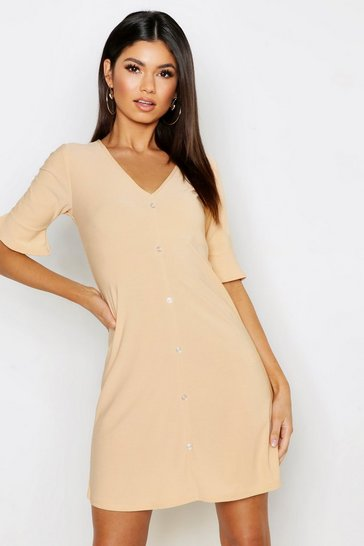 Womens Sand Button Detail Frill Sleeve Shift Dress