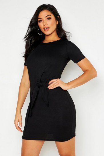 Womens Black Knot Front Long Sleeve Shift Dress