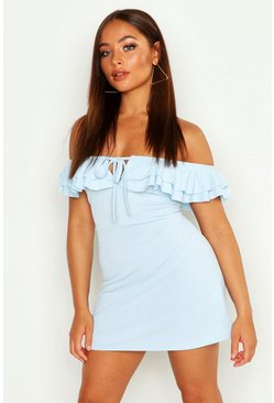 Womens Pale blue Ruffle Off The Shoulder A-Line Dress