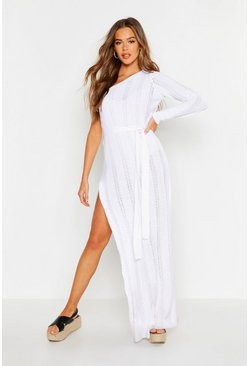 Womens White One Shoulder Knitted Maxi Dress