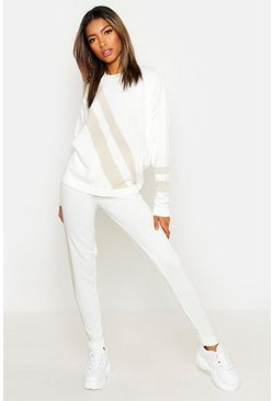 Womens White Knitted Sports Stripe Set