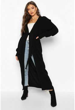 Womens Black Tie Front Maxi Pocket Detail Cardigan