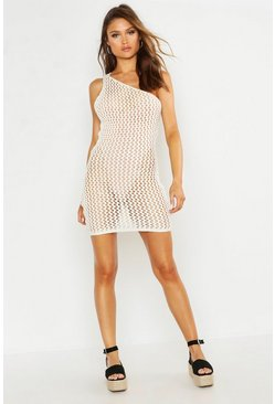 Womens Ivory Crochet Knit One Shoulder Mini Dress