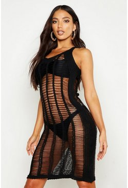 Womens Black Crochet Ladder Knitted Midaxi Dress