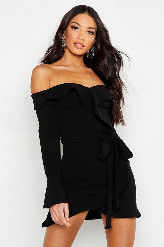 Womens Black Off The Shoulder Ruffle Tie Waist Skater Dress