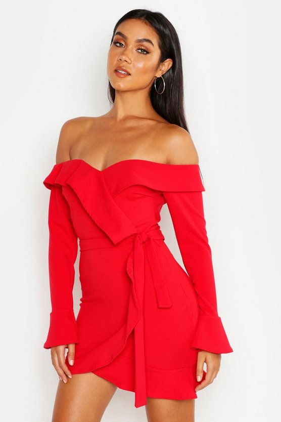 Womens Red Off The Shoulder Ruffle Tie Waist Skater Dress
