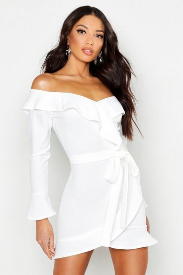 Womens White Off The Shoulder Ruffle Tie Waist Skater Dress