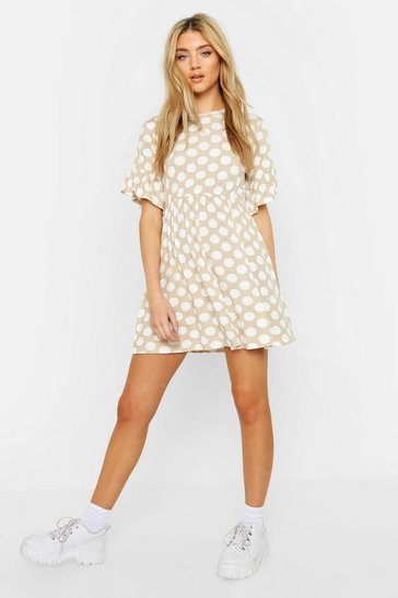 Womens Tan Spot Print Smock Dress