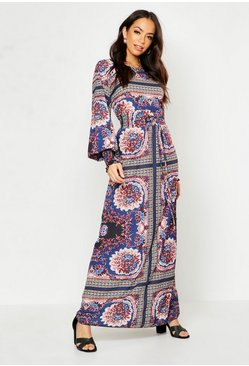 Womens Navy Woven Shirred Printed Maxi Dress