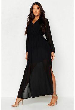 Black Woven Button Strappy Back Maxi Dress