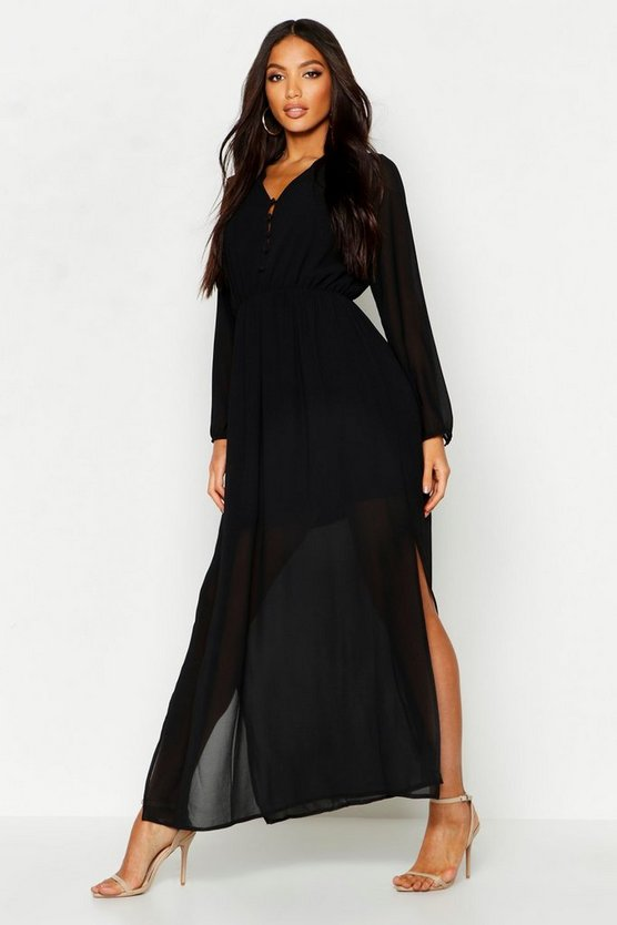 Womens Black Woven Button Strappy Back Maxi Dress