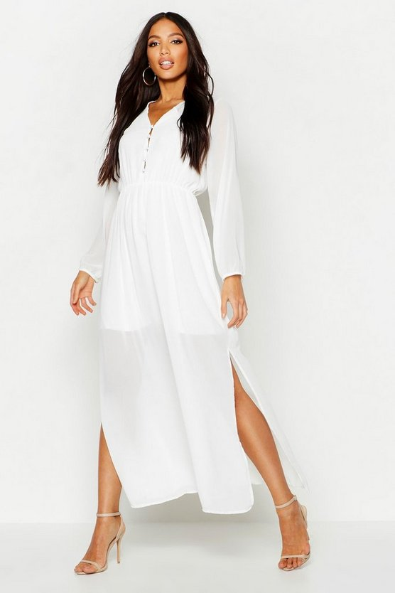 White Woven Button Strappy Back Maxi Dress