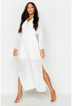 Womens White Woven Button Strappy Back Maxi Dress