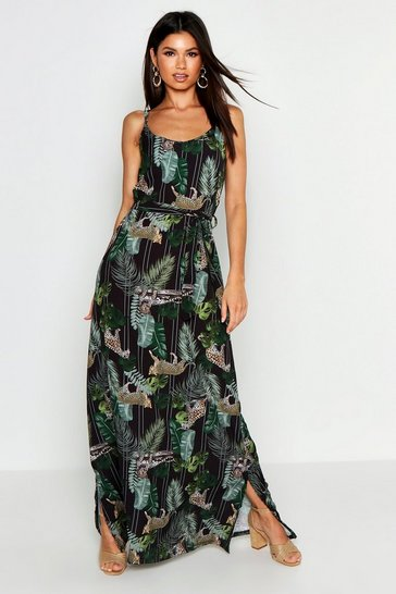 Womens Black Woven Palm Leopard Strappy Maxi Dress