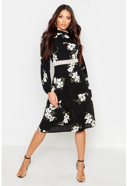 Womens Black Woven Floral Crochet Waist Midi Dress